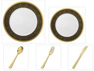 """Majestic Collection White w/Black & Gold Border China-Like Plastic 10.25"""" Dinner Plates + 7"""" Salad Plates + Cutlery *Party for 16*"""