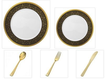 """Majestic Collection White w/Black & Gold Border China-Like Plastic 10.25"""" Dinner Plates + 7"""" Salad Plates + Cutlery *Party for 96*"""