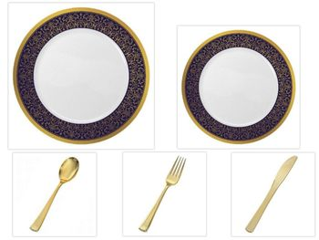 """Majestic Collection White w/Blue & Gold Border China-Like Plastic 10.25"""" Dinner Plates + 7"""" Salad Plates + Cutlery *Party for 120*"""