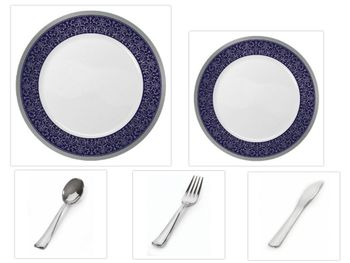 """Majestic Collection White w/Blue & Silver Border China-Like Plastic 10.25"""" Dinner Plates + 7"""" Salad Plates + Cutlery *Party for 16*"""