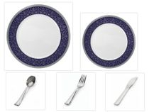 "Majestic Collection White w/Blue & Silver Border China-Like Plastic 10.25"" Dinner Plates + 7"" Salad Plates + Cutlery *Party for 60*"