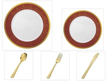 "Majestic Collection White w/Burgundy & Gold Border China-Like Plastic 10.25"" Dinner Plates + 7"" Salad Plates + Cutlery *Party for 60*"
