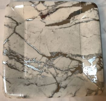"""Marble Collection White w/Silver Marble Swirl Square 10.5"""" Dinner Plates, 18ct."""