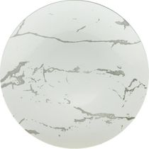 "Marble Design 10.25"" White and Silver Marbleized Plastic Dinner Plates, 10ct."