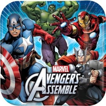 "Marvel Avengers Superheroes 9"" Square Birthday Luncheon Paper Plates 8ct."