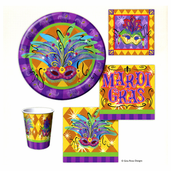 Masquerade Mardi Gras 9oz. Hot / Cold Paper Cups 8ct.