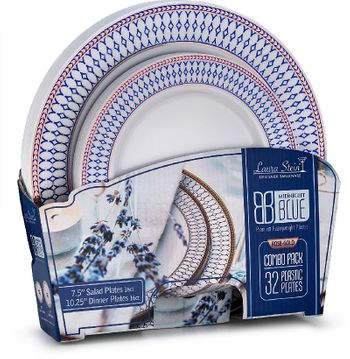 Midnight Blue Collection Combo Pack - White w/Blue & Rose Gold Border Dinner and Salad Plates, 32 count