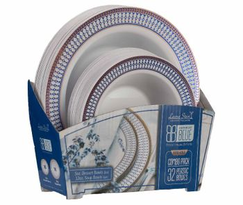 Midnight Blue Collection Combo Pack - White w/Blue & Rose Gold Border Soup and Dessert Bowls, 32 count