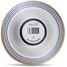 Midnight Blue White w/ Blue and Gold Border 12oz. Plastic Bowls 10ct.