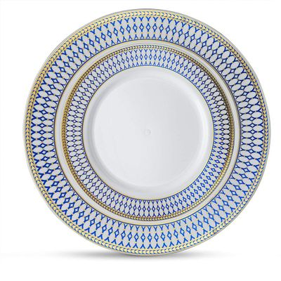 """Midnight Blue White w/ Blue and Gold Border 7"""" Plastic Salad Plates, 10ct."""