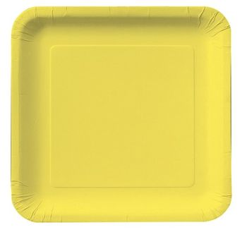"Mimosa Yellow 9"" Square Dinner Plates, 18 ct."