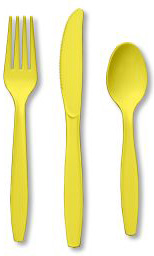 Mimosa Yellow Plastic Forks 24ct.