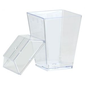 Mini Clear Plastic Gourmet Dish with Cover/Stand, 8 count