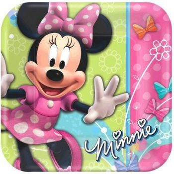 "Disney Minnie Mouse Dream Party Birthday 9"" Square Lunch Plates, 8ct."