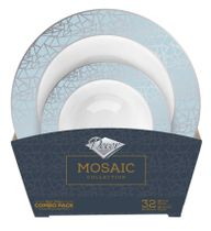 Mosaic Collection Tableware Set of 32 White Party Bowls w/Blue and Silver Border