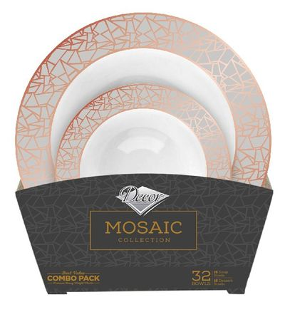 Mosaic Collection Tableware Set of 32 White Party Bowls w/Rose Gold and Silver Border
