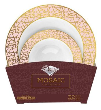 Mosaic Collection Tableware Set of 32 White Party Bowls w/Pink and Gold Border