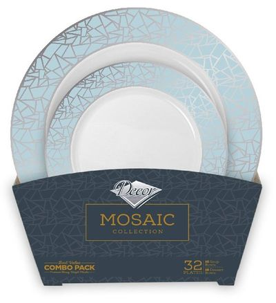Mosaic Collection Tableware Set of 32 White Party Plates w/Blue and Silver Border