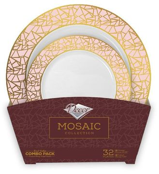 Mosaic Collection Tableware Set of 32 White Party Plates w/Pink and Gold Border