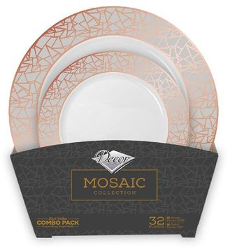 Mosaic Collection Tableware Set of 32 White Party Plates w/Rose Gold and Silver Border