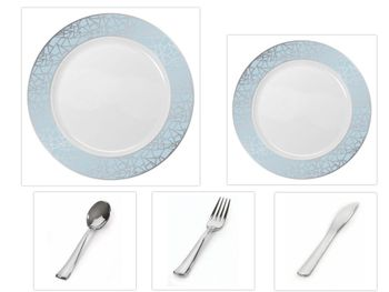 """Mosaic Collection White w/Blue & Silver Border China-Like Plastic 10.25"""" Dinner Plates + 7"""" Salad Plates + Cutlery *Party for 60*"""