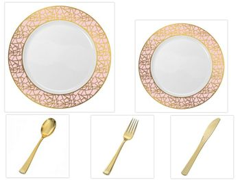 """Mosaic Collection White w/Pink and Gold Border China-Like Plastic 10.25"""" Dinner Plates + 7"""" Salad Plates + Cutlery *Party for 96*"""