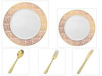 "Mosaic Collection White w/Pink and Gold Border China-Like Plastic 10.25"" Dinner Plates + 7"" Salad Plates + Cutlery *Party for 96*"