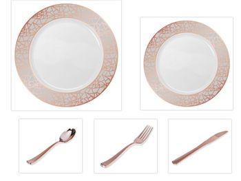 "Mosaic Collection White w/Rose Gold & Silver Border China-Like Plastic 10.25"" Dinner Plates + 7"" Salad Plates + Cutlery *Party for 96*"