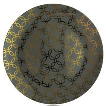 "Motif Design 10.25"" Gray w/Gold Geometric Overlay Plastic Dinner Plates, 10ct."