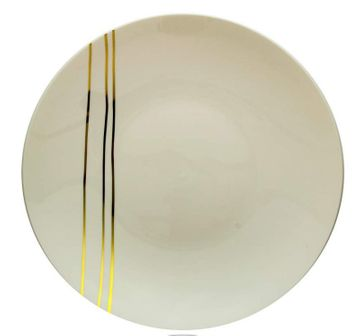 "Motif Design 8"" Cream w/Gold Streaks Plastic Salad Plates, 10ct."