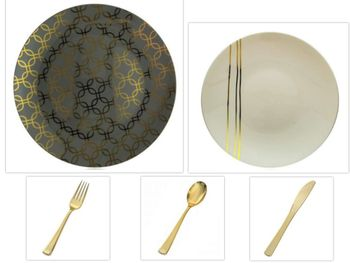 """Motif Design Collection Gray w/Gold Geometric Overlay 10.25"""" Dinner Plastic Plates + Cream w/Gold Streaks 8"""" Salad Plastic Plates + Gold Cutlery *Party of 100*"""