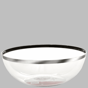 Mozaik 128oz. Clear Plastic Bowl with Silver Rim