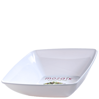 Mozaik 128oz. White Square Plastic Bowl