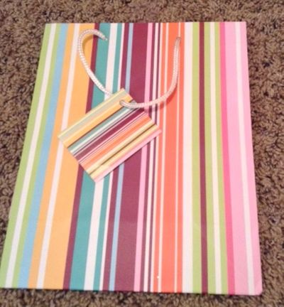 Multi Colored Striped Medium Gift Bag With Rope Handle