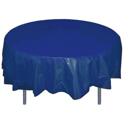 "Navy Blue 84"" Round Plastic Tablecloths"
