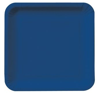 "Navy Blue 9"" Square Dinner Plates, 18 ct."