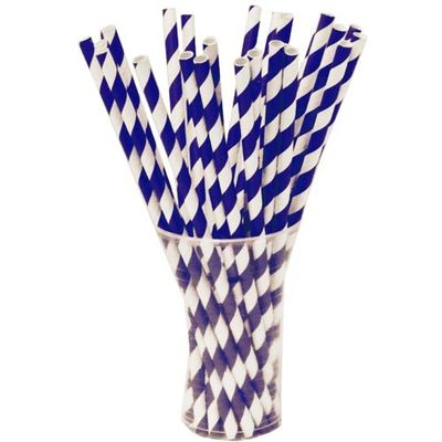 Navy Blue Paper Striped Straws 25ct.
