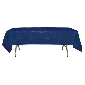 "Navy Blue Rectangular Plastic Tablecloths 54"" x 108"""