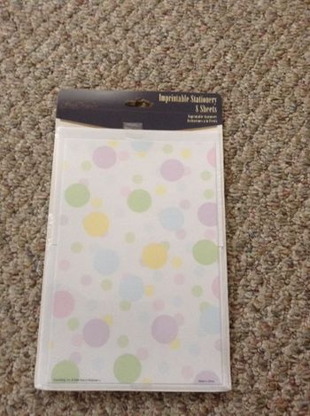 New Baby Pastel Polka Dot Imprintable Stationery, 8 sheets 2 for $1