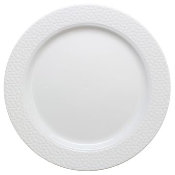 """Hammered Collection 10 1/4"""" White w/White Hammered Border Banquet Plastic Plates 10ct."""