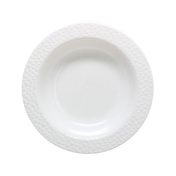 Hammered Collection 12oz. White w/ White Hammered Border Plastic Bowls 10ct.