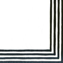Stripe Border Paper Cocktail Napkins (20 Pack), Black/White