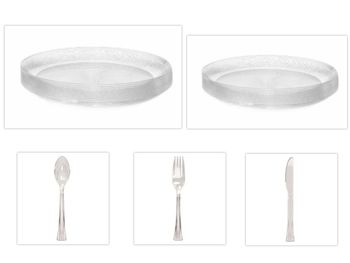 "Embellish Scroll Clear Plastic 10"" Dinner Plates + 7"" Salad Plates + Cutlery *Party of 120*"