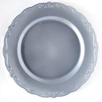 "Casual Collection 10"" Silver w/ Embellished Rim Plastic Dinner Plates 10ct."