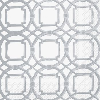 Courtyard Silver Cocktail Napkins: 20 Napkins per Pack