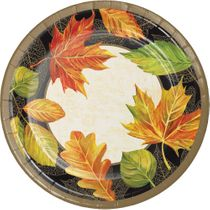 """Elegant Fall 9"""" Banquet / Luncheon Paper Plates 8ct."""