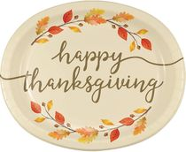 "Happy Thanksgiving Thankful Oval Platters 10"" x 12"", Multi-color 8ct."