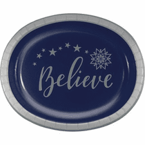 "Oval Silent Night ""Believe"" Platters"