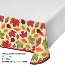 "Thanksgiving / Harvest Fall Leaves Plastic Table Cover 54"" x 102"""