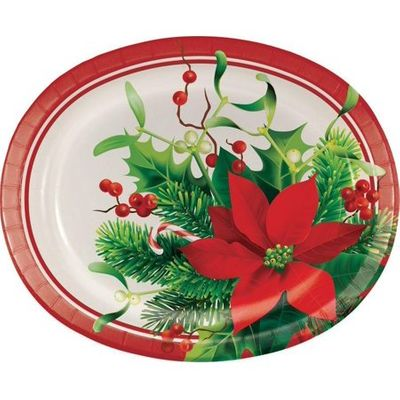 """CHRISTMAS HOLIDAY POINSETTIA OVAL PLATTERS, 10"""" X 12"""", 8 CT"""